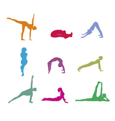 set color yoga silhouette vector image