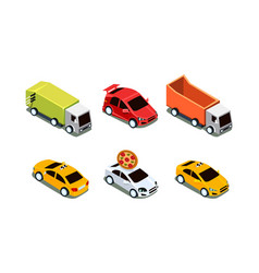 set different isometric vehicles pizza vector image