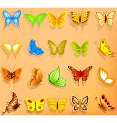 Set of realistic butterflies vector image