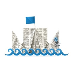 Ship with flag paper origami vector