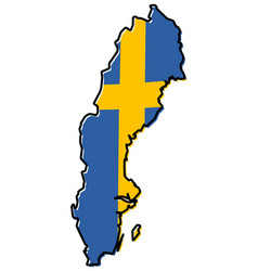 Simplified map of sweden outline with slightly vector