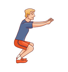 sketch man sportsman squat doing exercise vector image