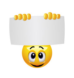 Smiley emoticon holding and showing advertise vector