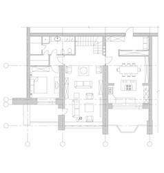 standard furniture symbols on floor house plans vector image