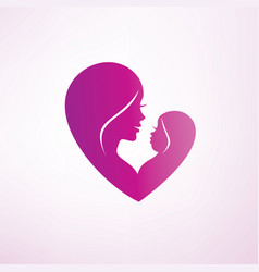 stylized mom and baby symbol vector image