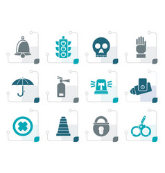 Stylized surveillance and security icons vector