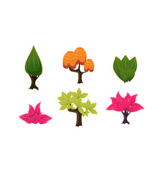summer trees set cute cartoon fantasy plants vector image