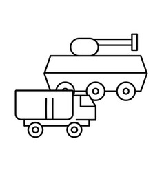 Tank military force with truck vector