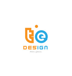 Te t e orange blue alphabet letter logo vector