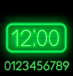 template clock on a dark background bright neon vector image