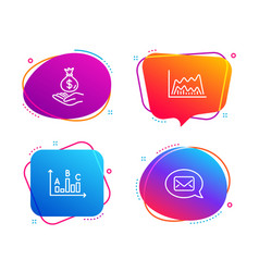 Trade chart income money and survey results icons vector