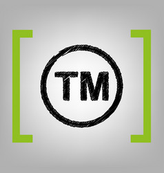 Trade mark sign black scribble icon in vector