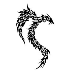tribal tattoo art with stylized black dragon vector image