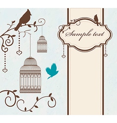 Vintage bird cage with tree branches and birds vector