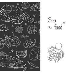 vintage hand drawn seafood banner vector image