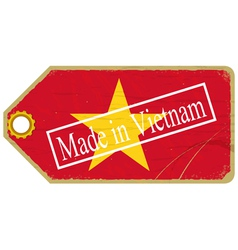Vintage label with the flag of vietnam vector