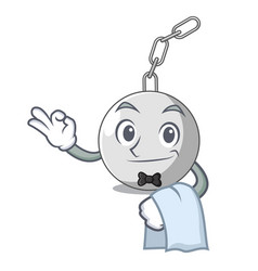 Waiter wrecking ball isolated on a mascot vector