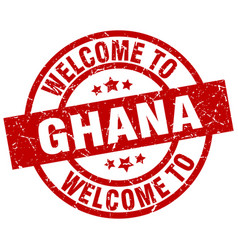 Welcome to ghana red stamp vector