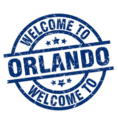 Welcome to orlando blue stamp vector