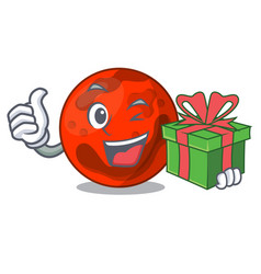 With gift mars planet mascot cartoon vector