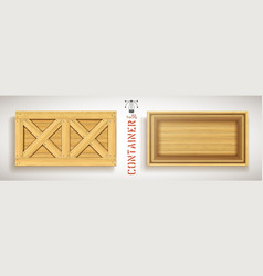 wooden box with double crosses on open lid vector image
