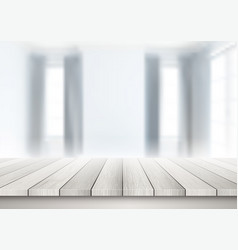 wooden table looking out to a defocussed room vector image