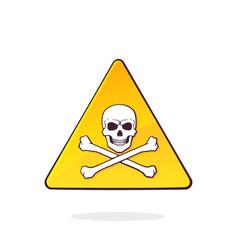 yellow danger symbol with skull and crossbones vector image