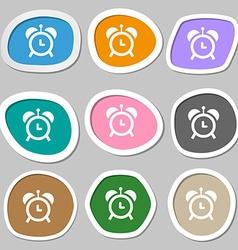 alarm clock symbols Multicolored paper stickers vector image vector image