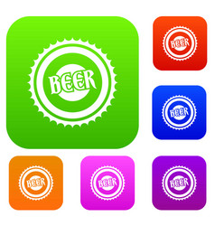 beer bottle cap set collection vector image