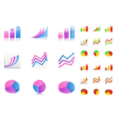 business graphs icons vector image vector image