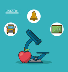colorful poster of education with microscope and vector image