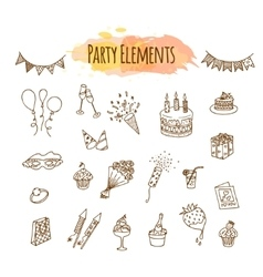 Hand drawn party decorations and elements vector image