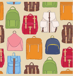 modern seamless pattern with backpacks or vector image vector image