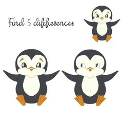 Find differences kids layout for game penguin vector image