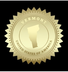 Gold star label Vermont vector image