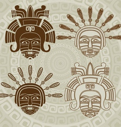 Native American mask stencil and stroke variant vector image