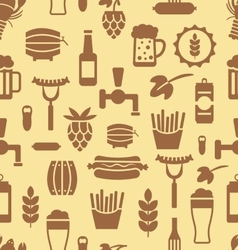 Seamless Pattern with Icons of Beers and Snacks vector image