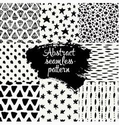 set of hand drawn design patterns vector image