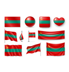 set transnistria flags banners banners symbols vector image vector image