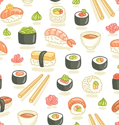 Sushi and rolls seamless pattern vector image vector image