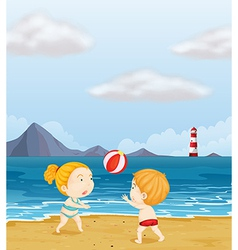 A girl and a boy playing volleyball at the beach vector image vector image