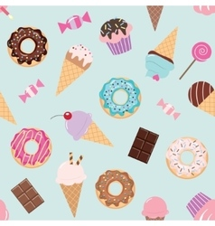 Birthday seamless pattern with sweets vector image