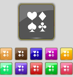Card suit icon sign set with eleven colored vector