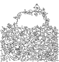 floral background with frame vector image vector image