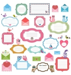 Frames envelopes and stickers for scrapbooking vector image