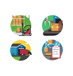 Icons warehouse and logistic vector image vector image