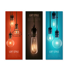 light bulbs vintage style vertical banners vector image vector image