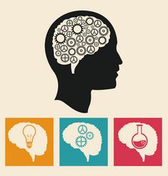 profile head brain development gears icons vector image vector image