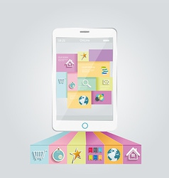 Smartphone with stylish modern colorful user vector image