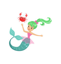 Smiling mermaid girl swimming with friendly crab vector